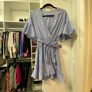 Wrap dress with flutter sleeves